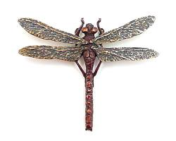 Red Dragonfly Pendant - Bronze