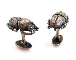 Scarab Beetle Cuff Links - Bronze