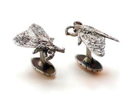 Tiger Moth Cuff Links - Silver